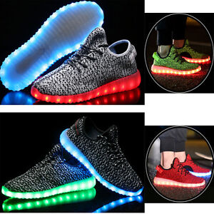 Details About Mens Outdoor Sports Led Light Up Shoes Canvas Casual Sneakers Athletic Knit Shoe