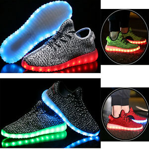 mens outdoor sports led light up shoes canvas casual sneakers athletic knit shoe ebay. Black Bedroom Furniture Sets. Home Design Ideas