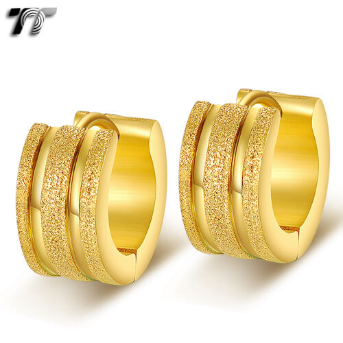 TTstyle Mesh Stainless Steel Thick Hoop Earrings Silver//Gold Tone NEW