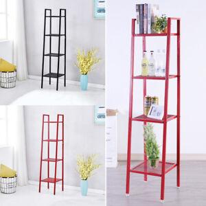 4-Tier-Ladder-Shelf-Bookshelf-Bookcase-Plant-Pot-Stand-Storage-Rack-Metal-Frame