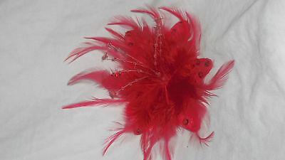 Rouge foncé s Millinery Plume Broche Clip Mariage Cheveux Piece Ascot 1