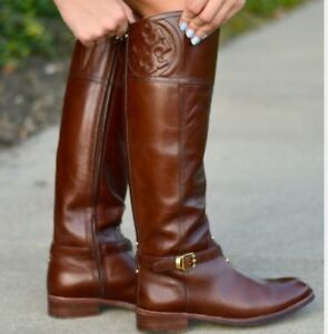 4005feef2ffe Tory Burch MARLENE Boots RIDING Brown FINNI Veg Leather small ...