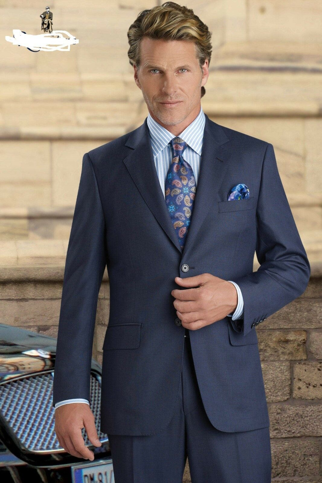 Mantoni Milan  40L 34W Light bluee Super 140 Wool Mens Suit Flat Front Pant