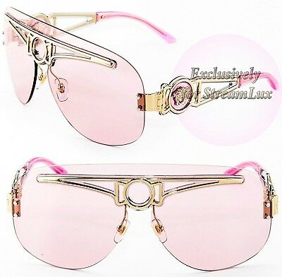 VERSACE Shielded Aviator Gold Pale Pink Sunglasses VE 2131 1252/5 DISCONTINUED!!
