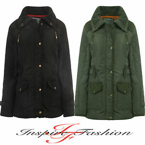 NEW LADIES JACKETS PARKA WOMENS FESTIVAL QUILTED PADDED MILITARY ... : quilted ladies coat - Adamdwight.com