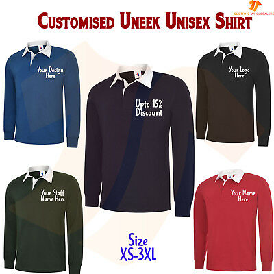 Personalised Classic Rugby Shirt Custom Printed Embroidered Sports Work Casual