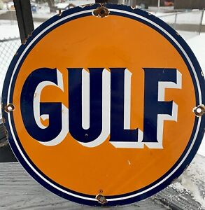 VINTAGE GULF GASOLINE PORCELAIN GAS OIL  SERVICE STATION PUMP PLATE SIGN AD