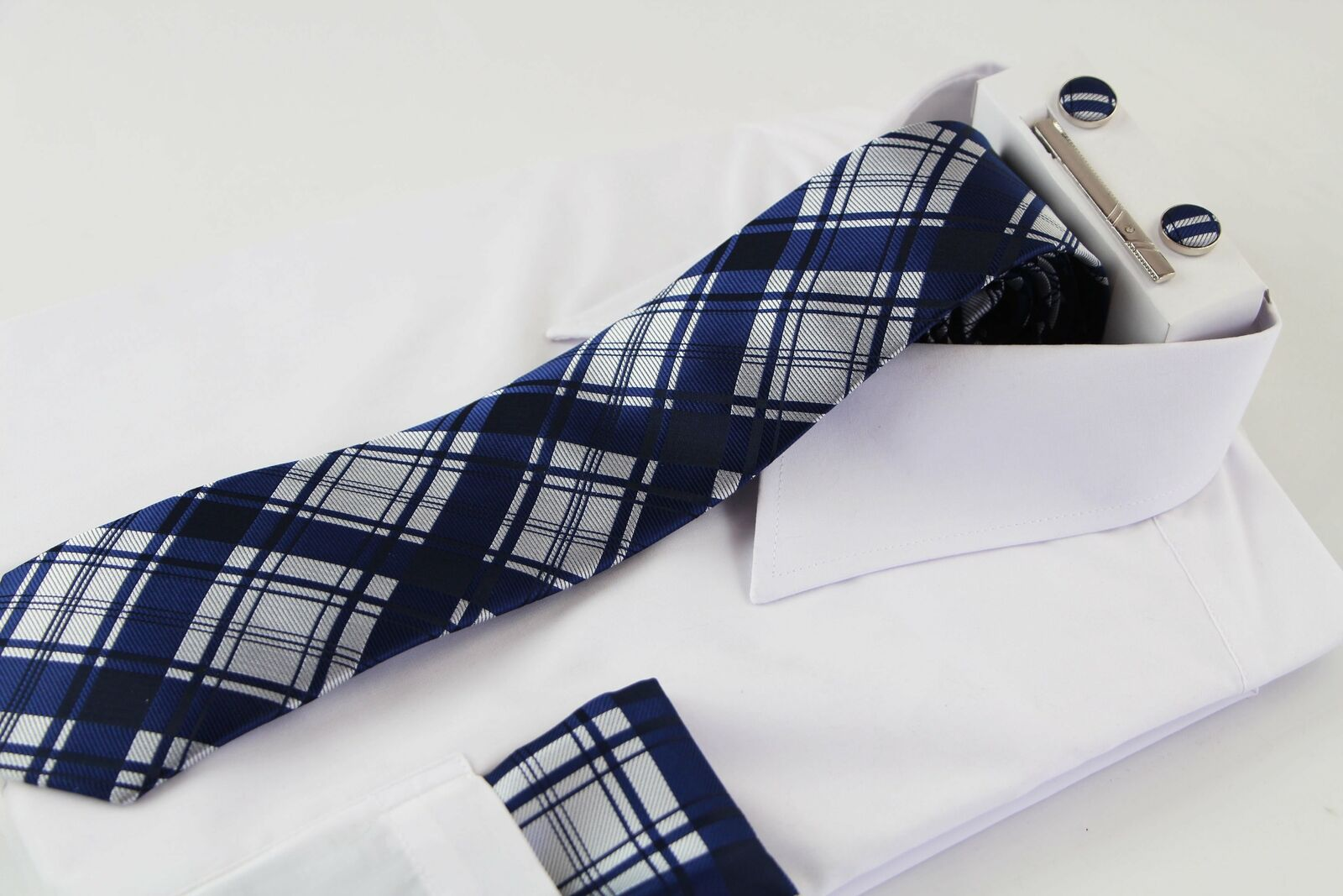 Mens Navy & Silver Checkered Matching Neck Tie, Pocket Square, Cuff Links And