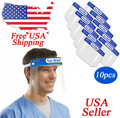 Ship from California 2 Pieces Safety Reusable Face Shield  Transparent Anti-Fog