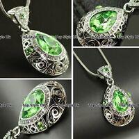 Peridot Necklace Diamond Pendant Birthday Xmas Gifts for Her Women Mum Wife G7