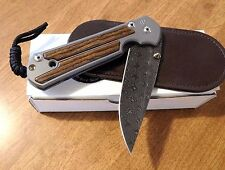 CHRIS REEVE Left Hand Bocote Large Sebenza 21 Raindrop Damascus Bld Knife/Knives