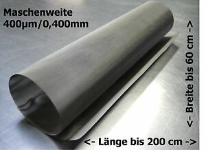 Professionelles Drahtgewebe Edelstahl Gaze 0,400mm 400µm  // bis zu 200x60cm