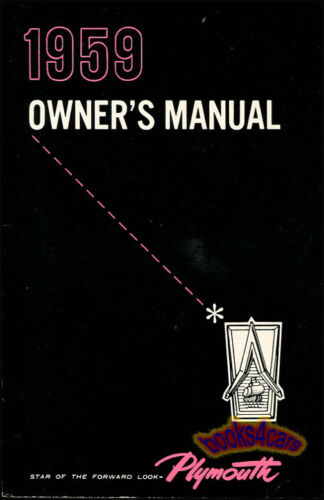 OWNERS MANUAL 1959 PLYMOUTH BOOK HANDBOOK GUIDE