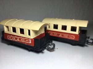 Matchbox-Eisenbahn-Lesney-2x-No-44-Passenger-Coach-Zug-Waggon