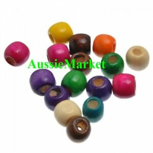 50-x-wooden-wood-painted-beads-12mm-x-11mm-mixed-colours-coloured-large-big-hole