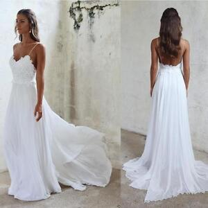 Image Is Loading Y Backless Spaghetti Beach Wedding Dress Lace Chiffon