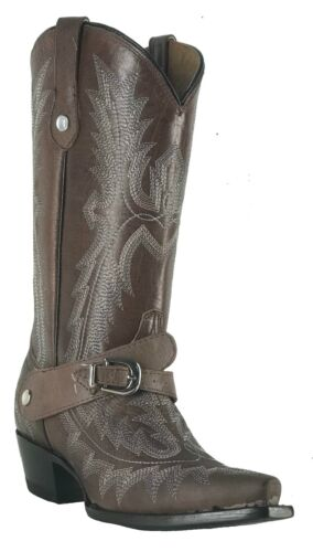 Women/'s New Leather Cowgirl Western Biker Boots Snip Brown  Sale