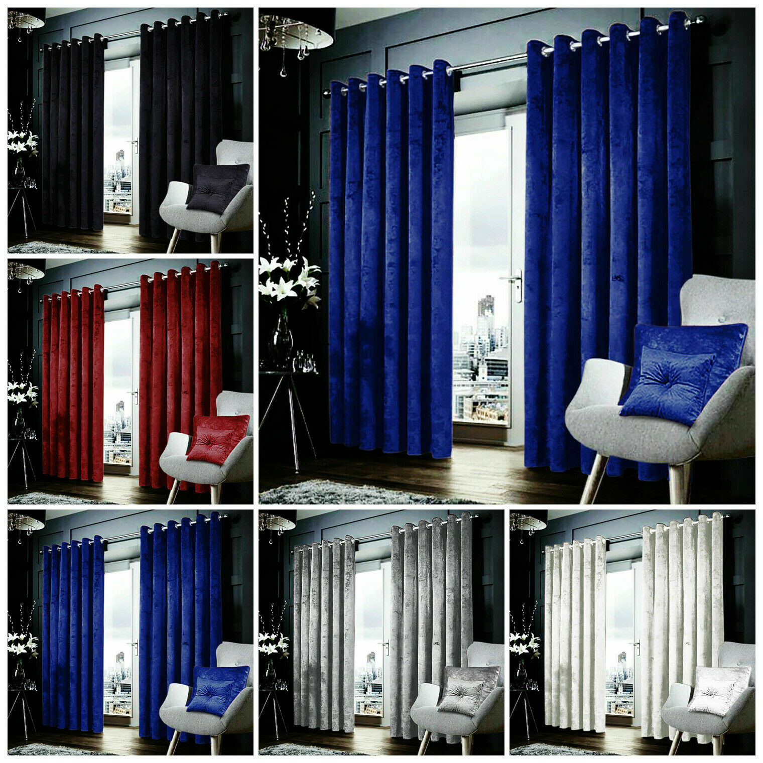 Ready Made Heavy Crushed Velvet Curtain Pair Fully Lined Ring Top Tieback Eyelet