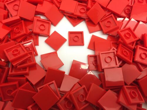 Red Smooth Flat Tile Plate 2x2-25 Pieces Or 50 Pieces LEGO 3068b