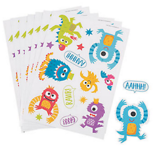 Pack-of-12-Cute-Monster-Sticker-Sheets-Great-Party-Bag-Fillers