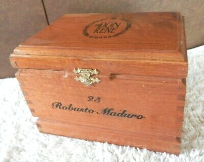 Vintage Don Rene Cigars Dovetail Wood Box Chest 25 Robusto Maduro Ebay