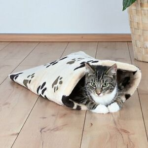 Mara Cat Kitten Toy Crunch Plush Bag Beige & Black Paws