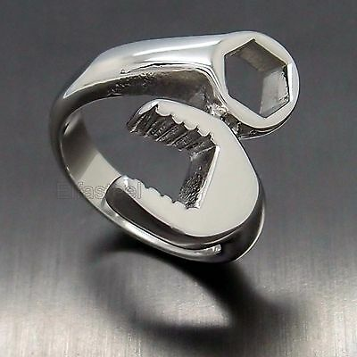 MEN'S Silver Mechanic Wrench Tool 316L Stainless Steel Biker Ring