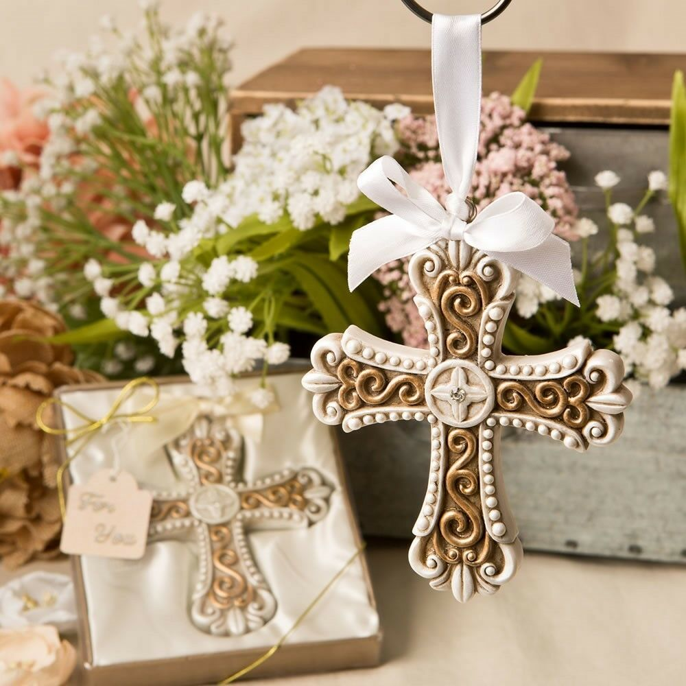 50 oro Vintage Cross Ornament Christening Baptism Shower Religious Party Favors