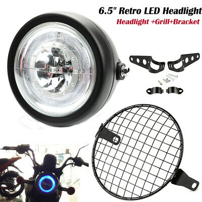 """6.5/"""" Retro Motorcycle LED Headlight Grill Side Mount Cover W// Bracket Cafe Racer"""