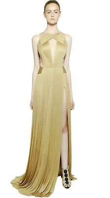 MARIA LUCIA HOHAN Silk Sheer Panel Pleated Cut Out Dress Gown F36  4 or F38  6