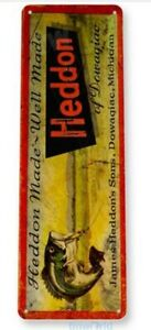 HEDDON-FISHING-LURE-TIN-SIGN-10-5-X-4-5-PLUG-TOP-WATER-DIVING-STICK-BAIT-BEER