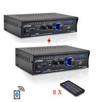 2qty Pyle Pcau48bt 2 X 120w Bluetooth Stereo Power Amplifier Usb/sd Aux & Remote on sale