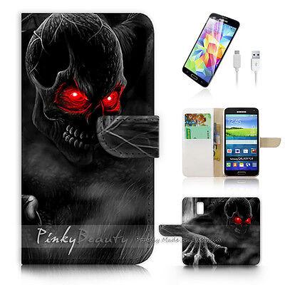 ( For Samsung S5 ) Wallet Case Cover Horror Skull P0523