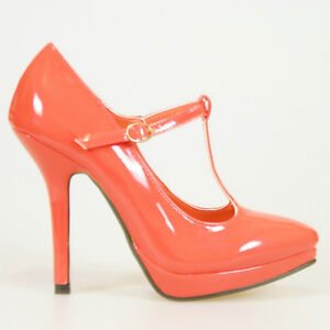 8de2e0c48c8 Details about WOMEN SHOES DESIGNER PATENT CORAL RED T-STRAP PLATFORM HIGH  HEELS PUMPS