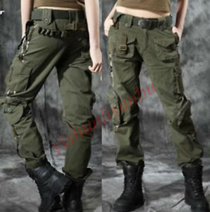 reputable site 82ef8 98471 Details about Womens Military Camouflage Rock Cargo Pockets Pants Outdoor  Trousers Long Hot Sz