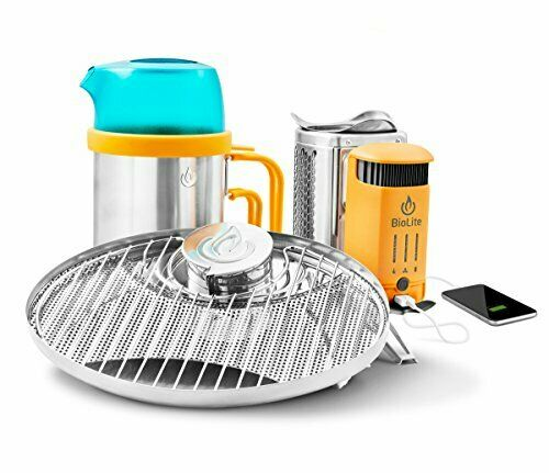 USB Chargeable Smart CampStove 2 Wood Burning w  Portable Grill & Kettle Pot