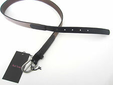 """Paul Smith Slim Belt Taupe & Blue Belt 32"""" 100% Cow Leather 100% Pewter Buckle"""