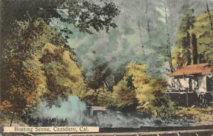 Boating-Scene-CAZADERO-CA-1913-RPO-Postmark-Hand-Colored-Vintage-Postcard