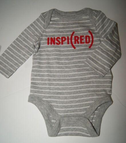 """New GAP RED /""""INSPIRED/"""" BABY LONG SLEEVE BODYSUIT GRAY STRIPE"""