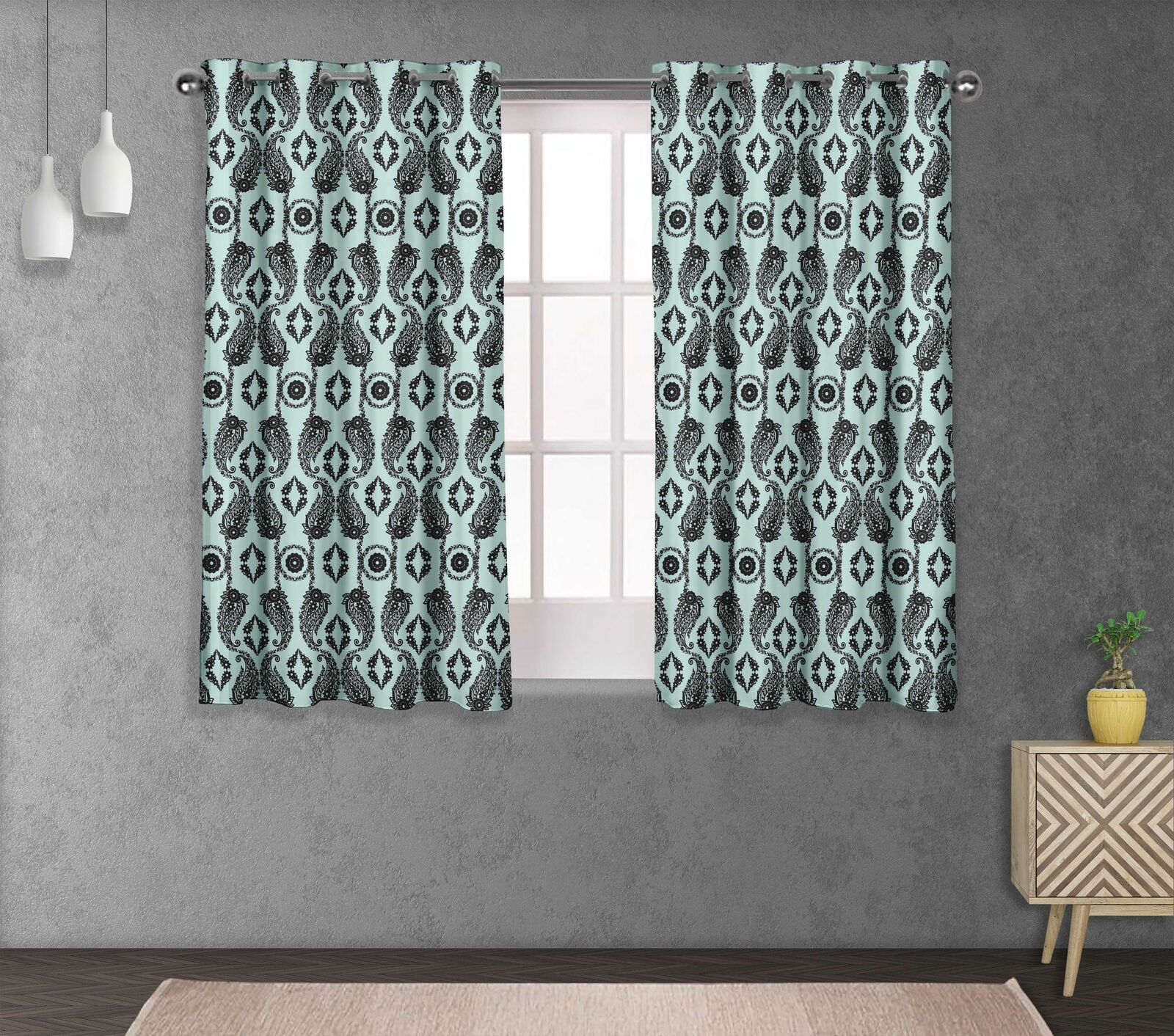 S4sassy Paisley & Living Room Eyelet Curtain Drapers -FL-696D