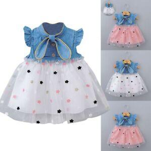 Newborn-Baby-Girls-Kids-Dresses-Princess-Gauze-Star-Denim-Dress-Outfits-Clothes