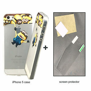 New-Premium-Real-Screen-shield-Protective-Film-and-Minions-Cover-For-iPhone-5-5S