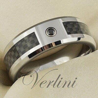 Carbon Fiber Inlay Tungsten Carbide Ring Black Diamond Men/'s Wedding Band
