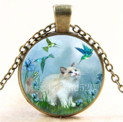 Vintage chat avec colibri Cabochon Verre Bronze Chaîne Collier Pendentif