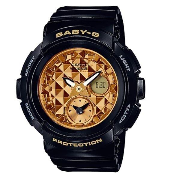 Casio Baby-G BGA-195M-1A Black Gold Round Series Analog Digital Womens Watch