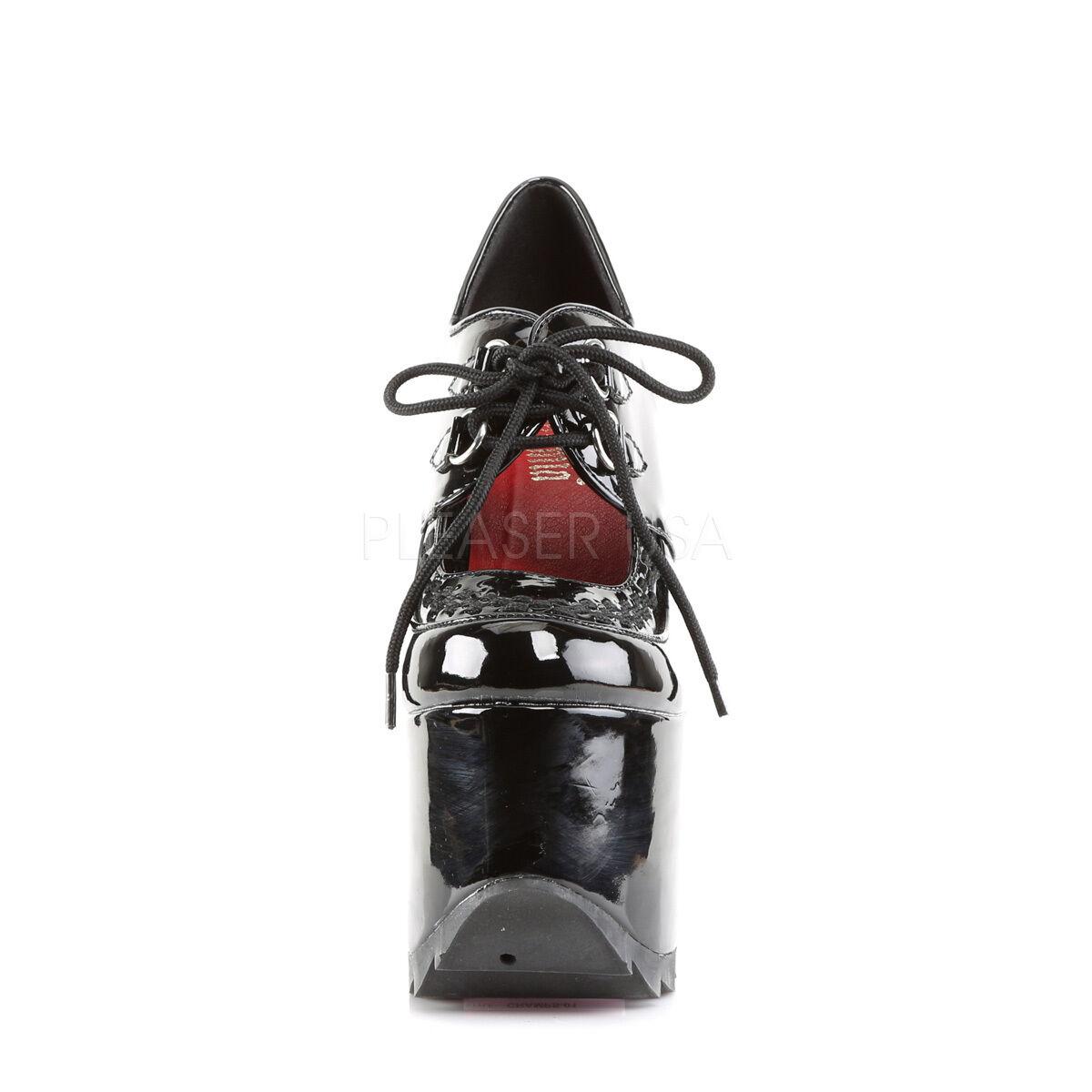 Demonia Block Cramps-01 Ladies Black Patent Lace Up Ridged Platform Block Demonia Heel Shoes a5a5a7