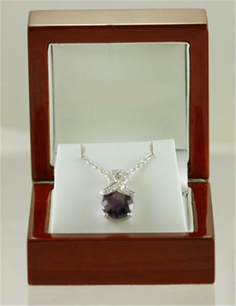 New Contemporary Diamond & Amethyst Pendant, priced below cost