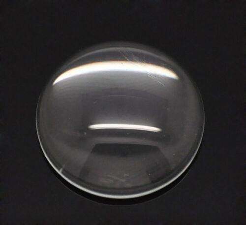 HS 50 Klar Rund Cabochon Klebstein Glaskuppel Glasstein 14mm