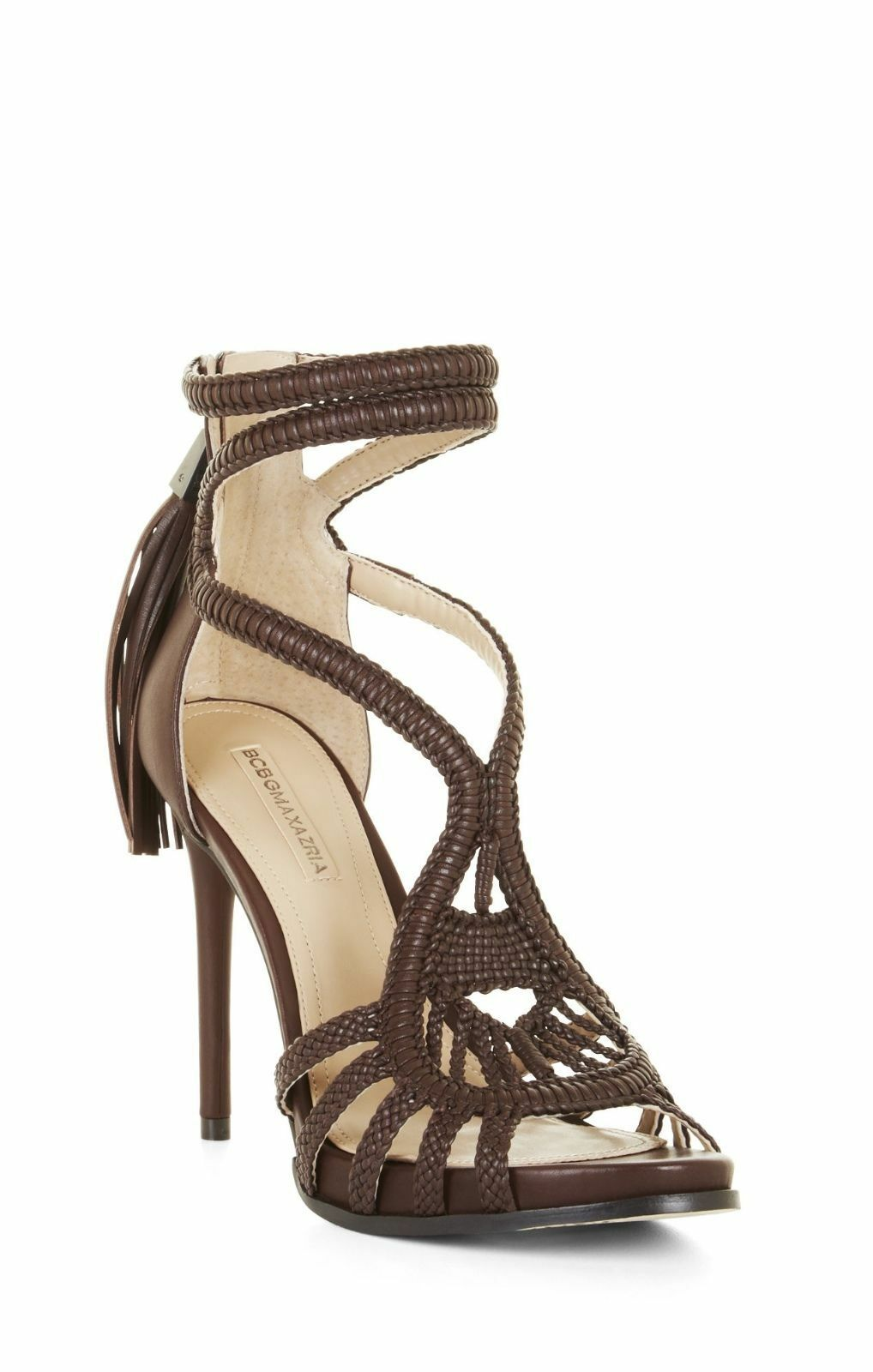 BCBG MAX AZRIA ESH HEEL MAPLE WOVEN LEATHER HIGH HEEL ESH STRAPPY DESIGNER SAY SANDALS 1149b7