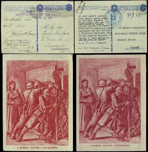 ITALY 1942 ILLUSTRATED MILITARY STATIONERY ANTI RUSSIAN...2 CARDS